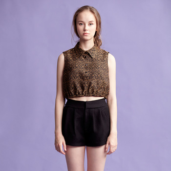 Original design women's vintage design short sleeveless shirt fashion crochet small shirt 3s2178