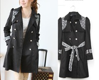 Free Shipping [Supernova Sale] Fashion Trench Coat For Women Double Breasted Casacos Overcoat Women C698