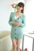 2013 new arrival fashion V Neck Thin Knitted Sweater  candy color bowknot  cardigan outerwear  1828