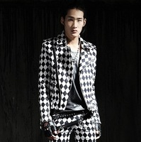 Fashion plaid coat male dimond plaid suit blazer punk slim short design top