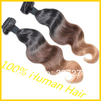 "ombre Brazilian human hair body wave Free shipping 1b/#4/27# ombre hair weft color three tone color 2/3pcs lot 16""-24"" thick"