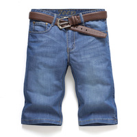 Men's jeans light blue male capris shorts breeched