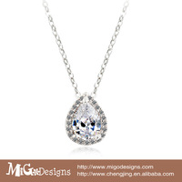 Gift Box Free Shipping Migodesigns 2013  AAA Cubic Zirconia Stone 18K Gold Filled Teardrop Chram Chain Necklace