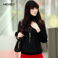 Black rider  autumn ol black lantern sleeve all-match fifth sleeve short jacket half sleeve female blazer