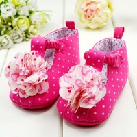 free post wholesale 3pairs/lot new 2013 baby girls shoes for first walkers with big flower decoration shoes kids for baby