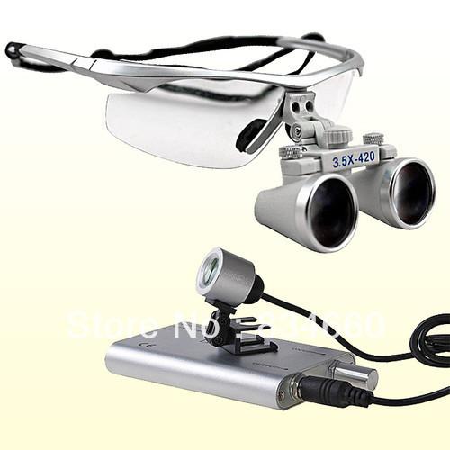 3.5x Dental Surgical Binocular Loupes + LED Dental Head Light lamp(China (Mainland))