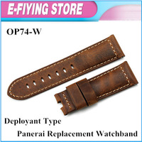 Genuine Leather Watch bands 24mm PAM Semimat Leather Strap For Panerai Watch Free shipping