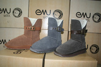 Emu cork strap short snow boots sheepskin wool one piece 3