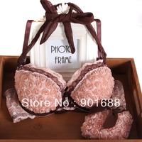 Whosale/retail Rose sweet front button bra set sexy halter-neck three-dimensional flower romantic underwear set