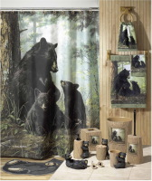Black bear 's happy life terylene print shower curtain 183 *183cm