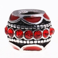 Free shipping!!!Zinc Alloy European Beads,New 2013 Jewelry, Drum, without troll & enamel & with rhinestone, black, nickel