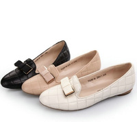 2013 fashion bow round toe flat-bottomed single shoes genuine leather sheepskin women's shoes nurse shoes 2qc46
