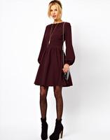 Autumn elegant one-piece dress fashion brief long-sleeve slim waist dress lantern sleeve expansion women's dresses