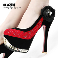 Kvoll 2013 spring shoes diamond velvet color block thick heel single shoes high-heeled shoes wedding shoes 57291