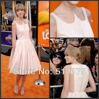 New Arrival Sexy Cap Sleeve Knee-length Draped Chiffon Red Carpet Prom Gown Celebrity Dresses 2013