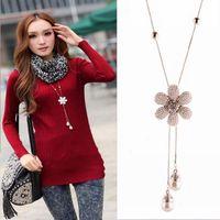 xmas gift 2pcs/lot all-match fashion full rhinestone flower camellia tassel long design necklack