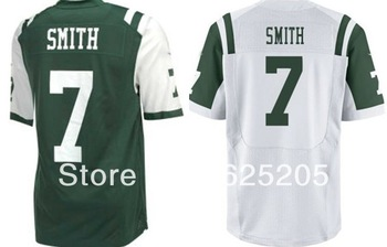 Discount 2013 New York American Football Jerseys Elite #7 Geno Smith Team color Home Green Road White Men's Authentic Jersey