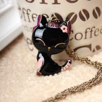 xmas gift 2pcs/lot  fashion accessories vintage black oil cat paint necklace long design