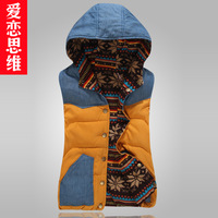 2013 fashion with a hood reversible down vest cotton vest women's