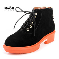 Free shipping New arrival Kvoll nubuck leather black solid color all-match british style thick heel lacing short-leg boots
