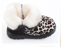 Fashion Warm Cotton-padded Non-slip Baby Shoes Children Boys And Girls Snow Boots Fashion Leopard 2  Colors