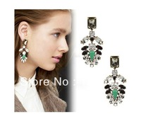 Free Shipping 2013 Fashion Jc brand crystal leaf Earring  MOQ 12 prs