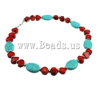 Free shipping!!!Coral Necklace,2013 Brand, Natural Coral, with Natural Turquoise, brass lobster clasp, two-tone, 18x24x6mm