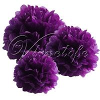 "Free shipping 10pcs 25cm 10"" Purple Tissue Paper Pom Poms Wedding Birthday Party Home Decor Craft Favors"