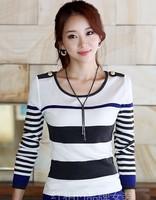 free shipping whole sales women autumn long sleeve stripe sweater shirts autumn