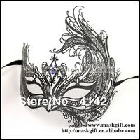 100% Luxury Venetian Masks Design Free Shipping 48pcs/lot Black Phoenix Blue Stones Laser Cut Metal Masquerade Masks