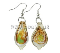 Free shipping!!!Lampwork Drop Earring,Trendy, iron hook, Leaf, handmade, silver foil, mixed colors, 13x42x4mm, 16x49x4mm