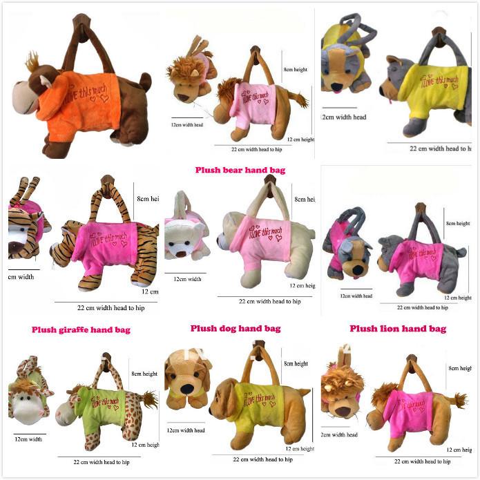 Weichen plüsch hund geformt handtasche mit kleidung 10 farben