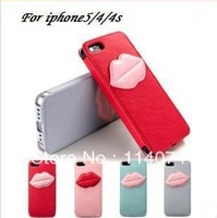 Free shipping leather case for iphone 4/4s,Ultra-thin lovely lips case for iphone