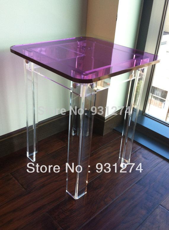 Estilo moderno superior cuadrada mesa lateral de acr lico - Mesas plegables salon ...