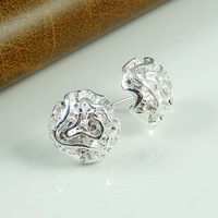 Free Shipping !!! 925 silver Rose Stud Earrings Romantic Gift Holiday Creative Earrings Nickle Free Antiallergic 1pcs/lot #E5