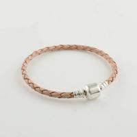 Light Orange Leather Bracelet with 925 Sterling Silver Clasp Clip, Compatible with Pandora Thread Charm Bracelet Making PL004
