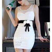 Drop shipping Sexy Women Party wear Clubbing Cocktail Flower Belt Slim Mini Dress White CY0052 Free shipping