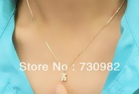 pure 14k yellow gold pendants necklace small teddy bear  fashion suits for all occasion necklace free shipping