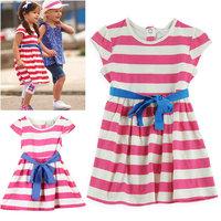 100% cotton 2014 summer little girl dress sleeveless Striped dresses children clothing cheap girl dresses