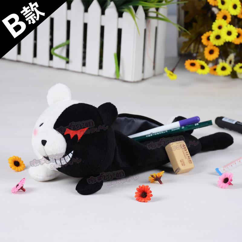 Free Shipping! New Arrival ! Dangan-Ronpa Monomi black and white bear pencil case pen bag cos Gift(China (Mainland))
