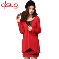 2013 plus size autumn clothing new arrival stripe twinset long-sleeve mm one-piece   dress winter elegant women 15p