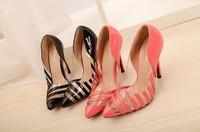 Sale New arrive Pumps shoes Women's high-heeled shoes Sexy transparent stripe High heels Wedding shoes (black. pink) JJ222-11