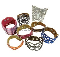 Free shipping!!!Leather Cord Bracelet,Wholesale 2013 Jewelry, zinc alloy clasp, with rhinestone, mixed colors, 18-55mm