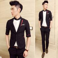 Autumn men's clothing british style male slim suit three quarter sleeve fashion blazer outerwear
