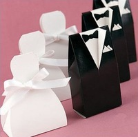 Free shipping 500pcs/lot bride and groom tuxedo European candy box, black and white dress packing box, XTH-9