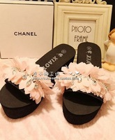 Sparkling diamond chiffon ! elegant rhinestone high heels advanced platform beach slippers