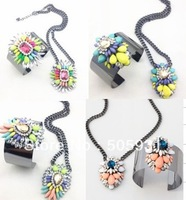 Fashion Shourouk Color Gem Mix mMatch Crystal Short Necklace Wide Bracelet Women Necklace Bracelet,2Pcs 1 Sett