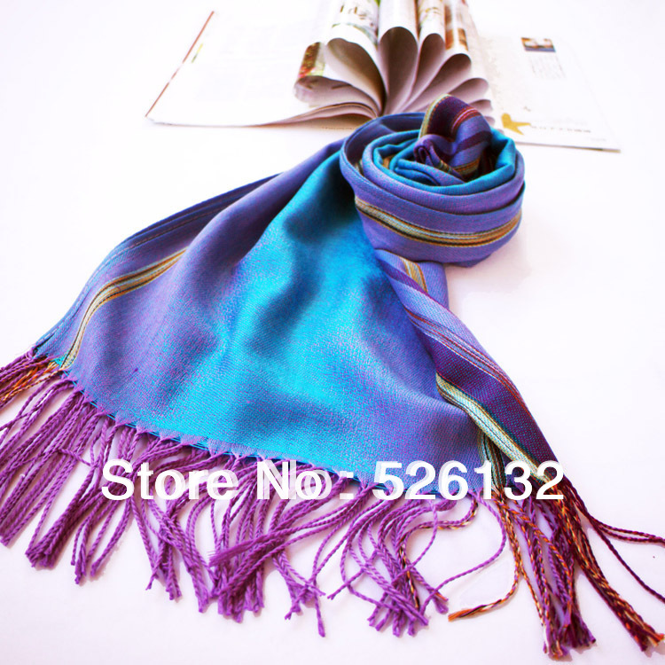 Free shipping! 6 Colors 2013 Korean Style Autumn and Winter Long Jacquard Scarf, Women's Dual Gradient Stripes Scarves Shawl(China (Mainland))