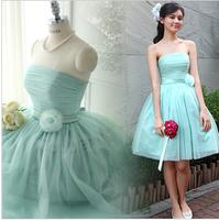 Bridesmaid dress short design sisters dress fresh mint green tube top bandage wedding dress one-piece dress