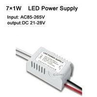 Free shipping 7X1W led power driver, lamp driver, AC85-265v external LED power supply input for E27 GU10 E14 LED lamp, spotlight